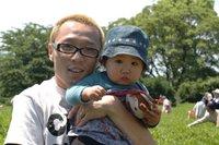 茶畑にて,おとんと花子とカブちゃん